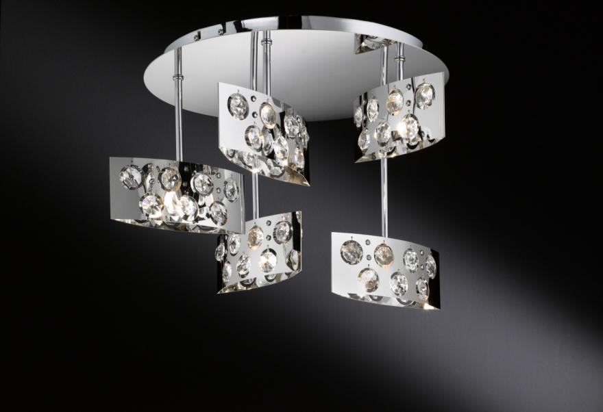 wofi dress 5 flg deckenleuchte in chrom lampe 9200. Black Bedroom Furniture Sets. Home Design Ideas
